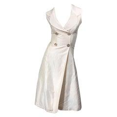 2000s Orna Farho Ivory Open Back Silk Shantung Double Breasted Halter Dress