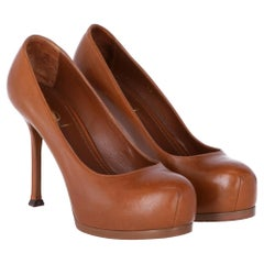 2000s Yves Saint Laurent Brown Leather Tribtoo Pumps