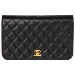 2001 Chanel Black Quilted Lambskin Vintage Classic Single Full Flap Bag