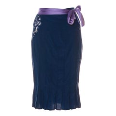 2004 Yves Saint Laurent by Tom Ford blue silk skirt with lace accents on sides