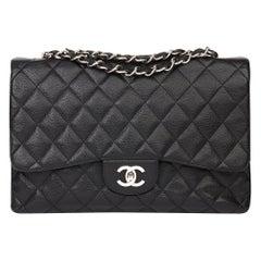 2006 Chanel Black Caviar Leather Jumbo  Classic Single Flap Bag