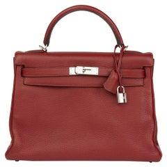 2006 Hermès Rouge H Clemence Leather Kelly 32cm Retourne