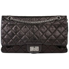 2007 Chanel Black Quilted Metallic Aged Calfskin 2.55 Reissue Double Flap Bag