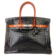 2007 Hermès Black & Orange H Shiny Porosus Crocodile Leather Birkin 35cm