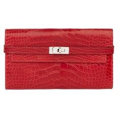 2007 Hermès Braise Matte Mississippiensis Alligator Leather Kelly Long Wallet