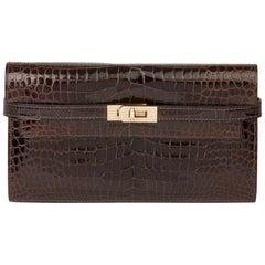 2007 Hermès Cocaon Shiny Porosus Crocodile Leather Diamond Kelly Long Wallet