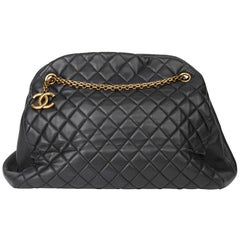 2010 Chanel Black Quilted Lambskin Large Just Mademoiselle Bowling Bag