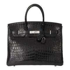 2010 Hermès Black Matte Crocodile Alligator Leather Birkin 35cm