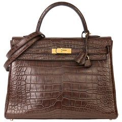 2010 Hermès Chocolate Brown Matte Mississippiensis Alligator Leather Kelly 35cm