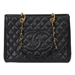 2011 Chanel Black Quilted Caviar Leather Grand Shopping Tote GST