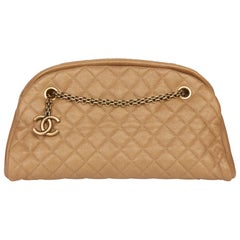 2011 Chanel Gold Quilted Caviar Leather Just Mademoiselle Bowling Bag