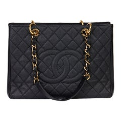 2012 Chanel Black Quilted Caviar Leather Grand Shopping Tote GST