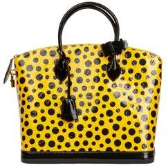 2012 Louis Vuitton Yellow Vernis Leather Dots Infinity Yayoi Kusama Lockit MM