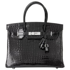 2013 Hermès Black Shiny Porosus Crocodile Leather Birkin 30cm