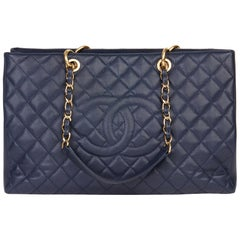 2014 Chanel Navy Quilted Caviar Leather Grand Shopping Tote XL GST