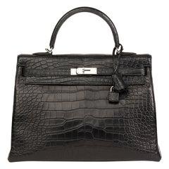 2014 Hermes Black Matte Mississippiensis Alligator Leather Kelly 35cm Retourne