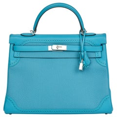 2014 Hermès Turquoise Togo & Swift Leather Ghillies Kelly 35cm Retourne