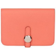 2015 Hermès Rose Azalee Togo Leather Dogon Compact Wallet