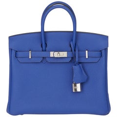 2016 Hermès Blue Electric Togo Leather Birkin 25cm