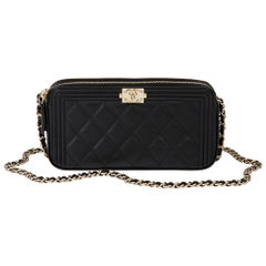 2018 Chanel Black Quilted Lambskin Double Zip Around Le Boy Wallet-on-Chain WOC