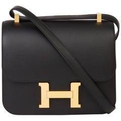 2018 Hermès Black Epsom Leather Constance 24