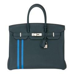2018 Hermès Vert Cypres Togo & Bleu Zellige Swift Leather Officier Birkin 35cm