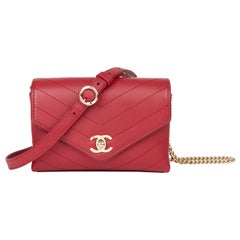 2019 Chanel Red Chevron Quilted Calfskin Leather Coco Waist Bag