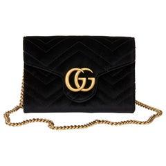 2020 Gucci Black Chevron Quilted Velvet Mini Marmont