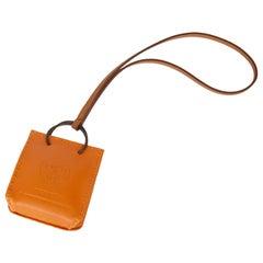 2020 Hermès Orange Lambskin Leather Shopping Bag Charm