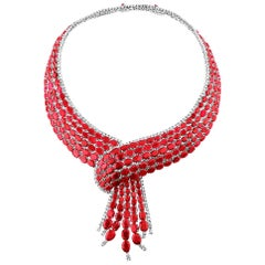 204 Carat Ruby, Diamond and White Gold Cravat Necklace