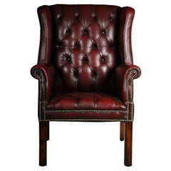 20th Century Classic English Chesterfield Earsback Chair, Leather