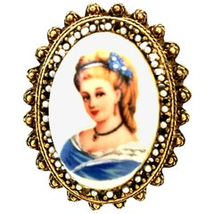 20th Century French Hand Painted Limoges Cameo Brooch & Necklace Pendant