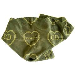 """20th Century French Silk Christian Dior """"Heart"""" Logo Scarf"""
