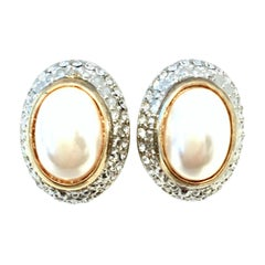 20th Century Givenchy Style Pair Of Austrian Crystal & Faux Pearl Earrings
