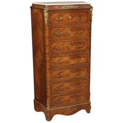 20th Century Inlaid Walnut Mahogany Maple Fruitwood French Secrétaire Desk, 1950