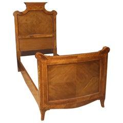 20th Century Inlaid Wood Italian Louis XV Style Single Bed, 1950