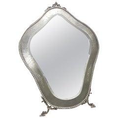 20th Century Italian 800 Solid Silver Table Mirror