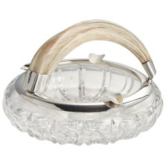 20th CenturyLarge Glass Silver & Boars Tooth Cigar Ashtray Austria, circa 1910