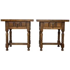 20th Century Pair of Spanish Nightstands with Carved Drawer and Iron Hardware
