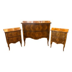 20th Century Wood Louis XVI Revival Chest of Drawers and Nightstands, Italy 1910