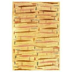 20th Century Yellow Designed Turkish Art Deco Rug by Zeki Muren, circa 1950