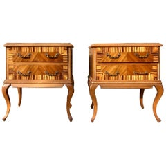 20th Century Pair of French Nightstands with Two Drawers