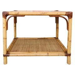 20th Century Spanish Rectangular Bamboo Coffee Table with Glass Top