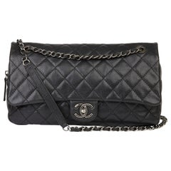 21012 Chanel Black Quilted Caviar Leather Jumbo Easy Carry Flap Bag