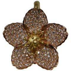 Cherry Blossom Pendant with 2.20ct Pavé Set Diamonds 20kt Rose Gold