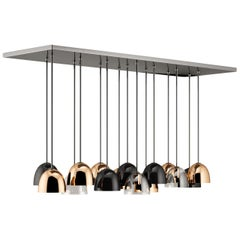 21st Century Bombarda Suspension Lamp Brass Glass Stainless Steel
