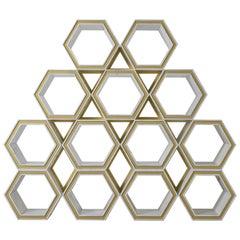 21st Century Calacatta Carrara Marble Metal Freestanding Hexagon Bookcase