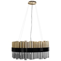 21st Century Granville Round Suspension Lamp Gold-Plated Nickel-Plated Brass