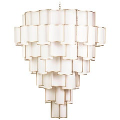 21st Century Maxi Shade Chandelier by Officina Luce Ivory Parchment and Brass