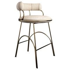 21st Century Metallic Austin Bar Chair Polished Brass Dobby Textile